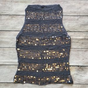 Vintage Crochet Sequins Tank Top Gray Silver S